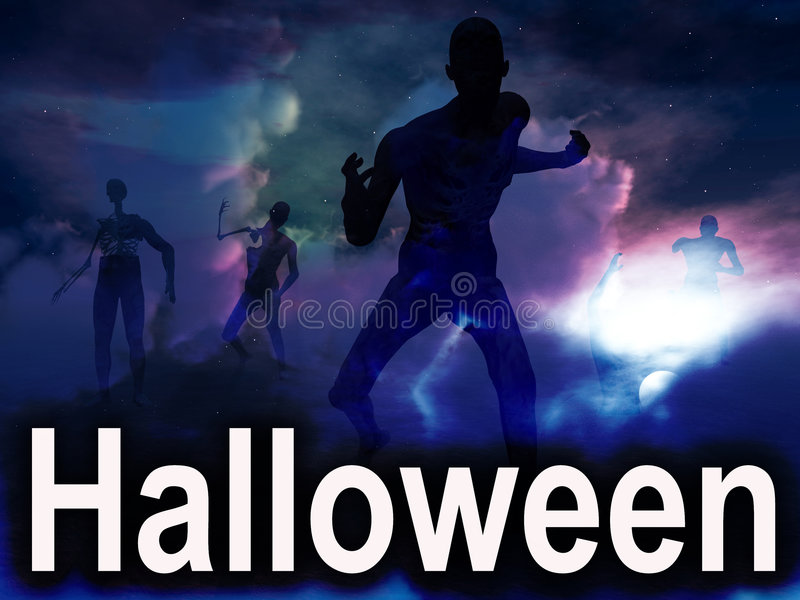 Halloween Zombies 2 stock illustrationer