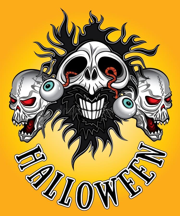 Halloween-zombieschedel met ogen die uit ontwerp komen vector illustratie