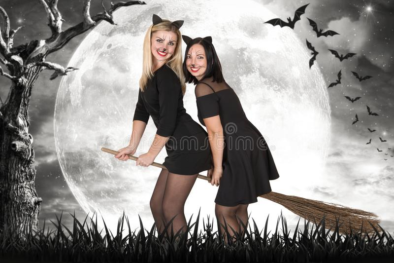 Halloween Zwei Hexen fliegen auf Besenstiele nachts im Wald stockbild