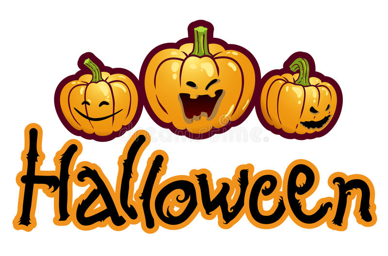 Halloweenbetitelung - drei Kürbisköpfe Jack stock abbildung