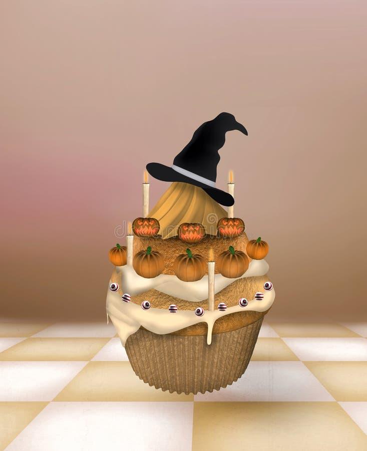 Halloweenowa babeczka ilustracji