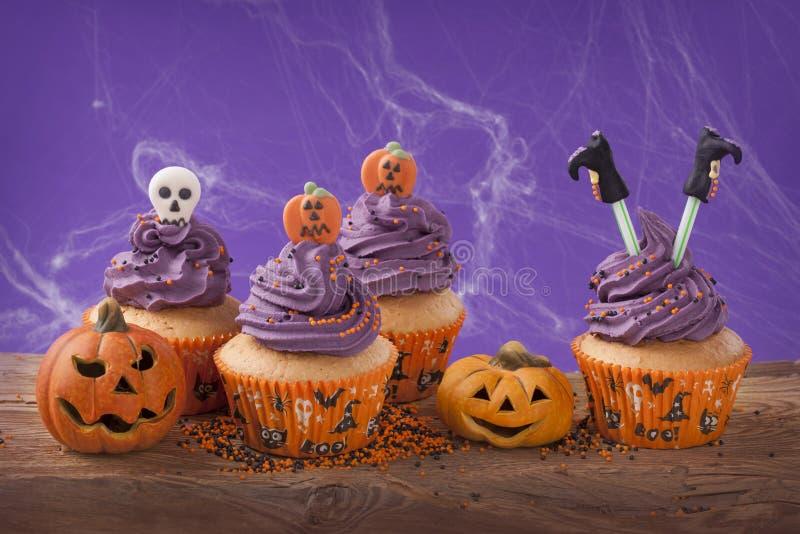 Halloweenowa babeczka zdjęcia royalty free