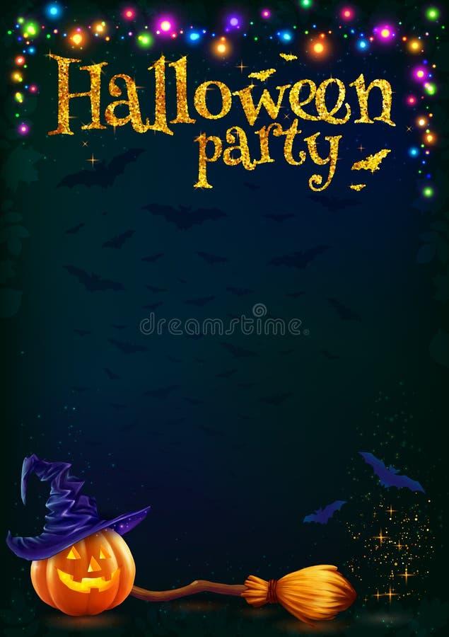 Halloweenowa bania i witchs miotła na ciemnym tle z kolorowymi lampami girlandy, wektoru partyjny plakatowy szablon ilustracji