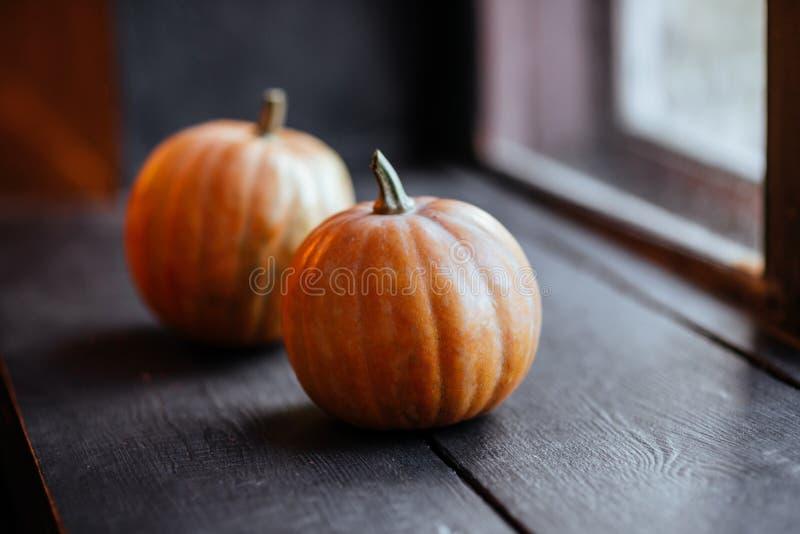 Halloweenowa bania na drewnianym tle obraz stock