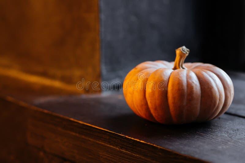 Halloweenowa bania na drewnianym tle obrazy royalty free
