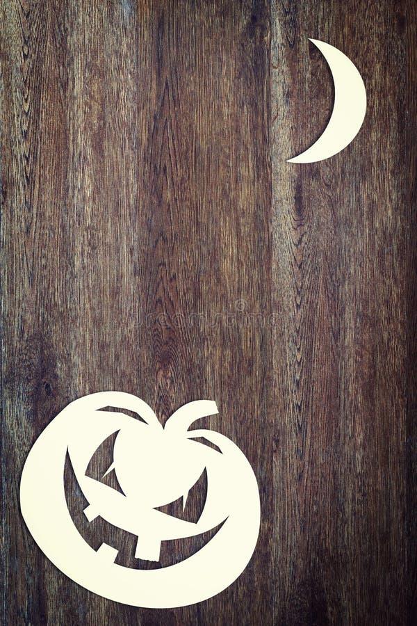 Halloweenowa bania nad drewnianym tłem obraz royalty free