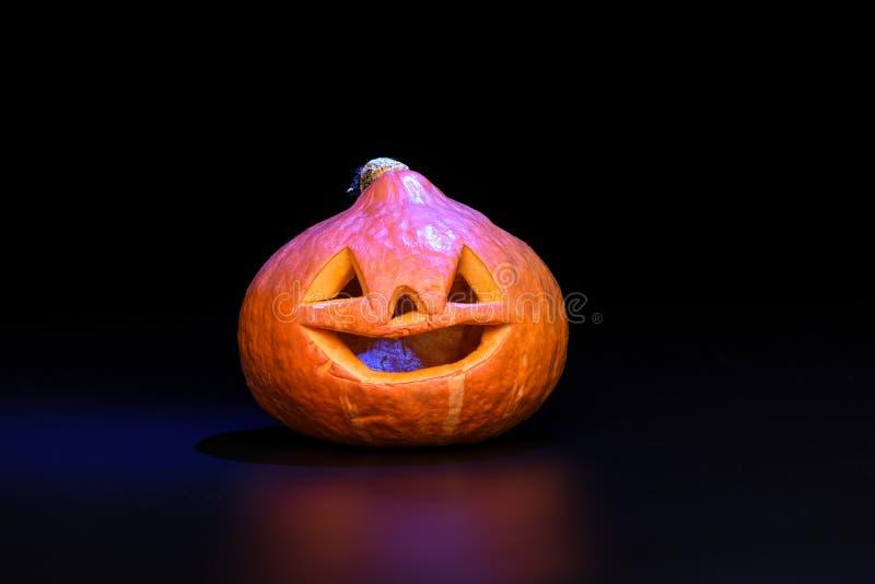 Halloweenowa bania odizolowywająca na czarnym tle z błękitnym backlig zdjęcie stock