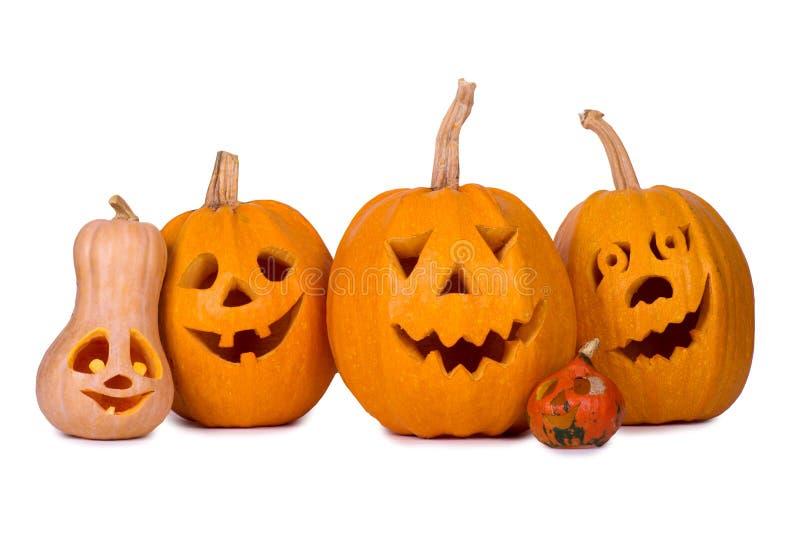 Halloweenowa bania, pięć śmiesznych twarzy, odizolowywających na białym tle obrazy stock