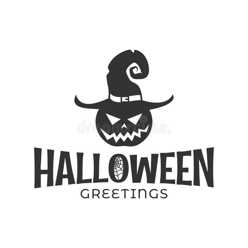 Halloweenowa bania w czarownica kapeluszu na białym tle ilustracji