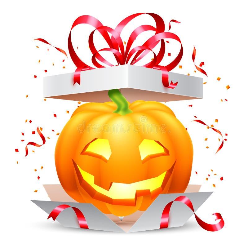 Halloweenowa bania w prezenta pudełku ilustracji