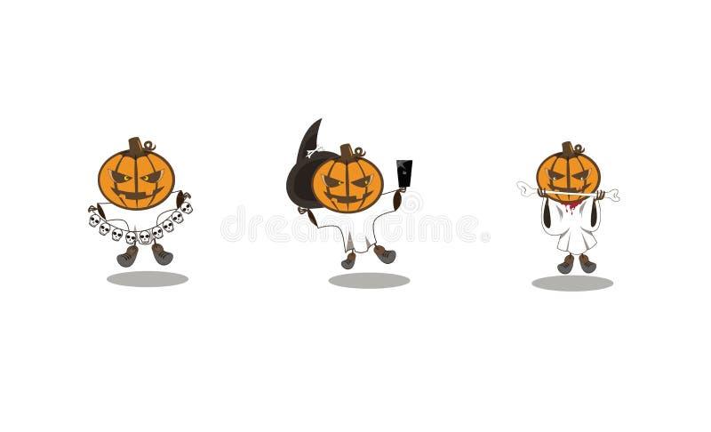 Halloweenowa bania w różnych okropnych kostiumach royalty ilustracja