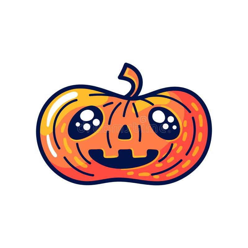 Halloweenowa bania z szczęśliwą twarzą odizolowywającą na białym tle royalty ilustracja
