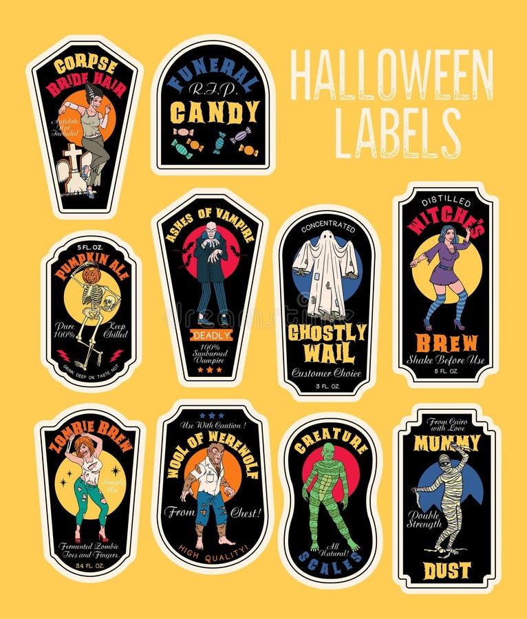 Halloweenowa butelka Przylepia etykietkę napój miłosny etykietki z potworami ilustracja wektor