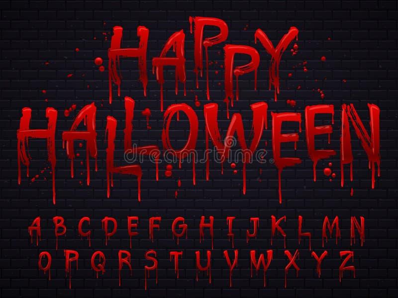 Halloweenowa chrzcielnica Horroru abecadło pisze list pisać krew, straszny krwawi chrzcielnicy lub mokry krwisty znak odizolowywa ilustracja wektor