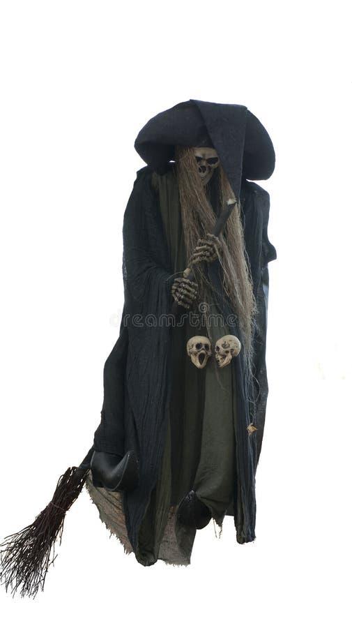 Halloweenowa czarownica na miotle fotografia stock