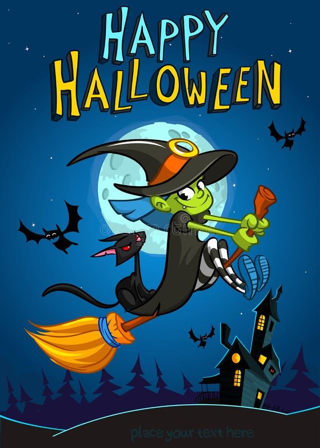 Halloweenowa czarownica z broomstick na nocy tle Wektorowy Halloween przyjęcia zaproszenia szablon Halloweenowa element czarownic royalty ilustracja