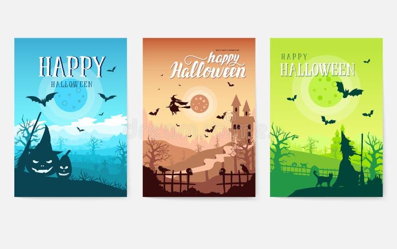 Halloweenowa czasu tła pojęcia granica dla projekta Krajobrazowy szablon flayer, magazyny, plakaty, książkowa zatoczka ilustracja wektor