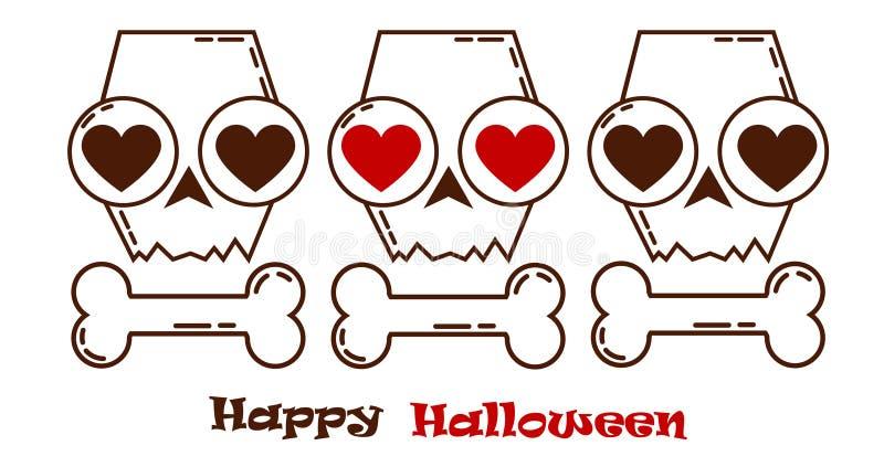 Halloweenowa czaszka kochający czaszki jesieni wakacje ilustracji