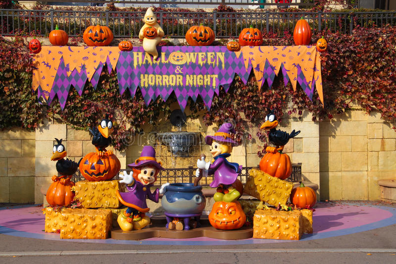 Halloweenowa dekoracja przy parkiem tematycznym obraz stock