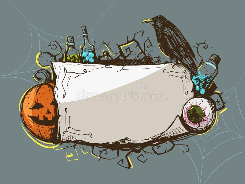 Halloweenowa dekoracyjna rama ilustracji