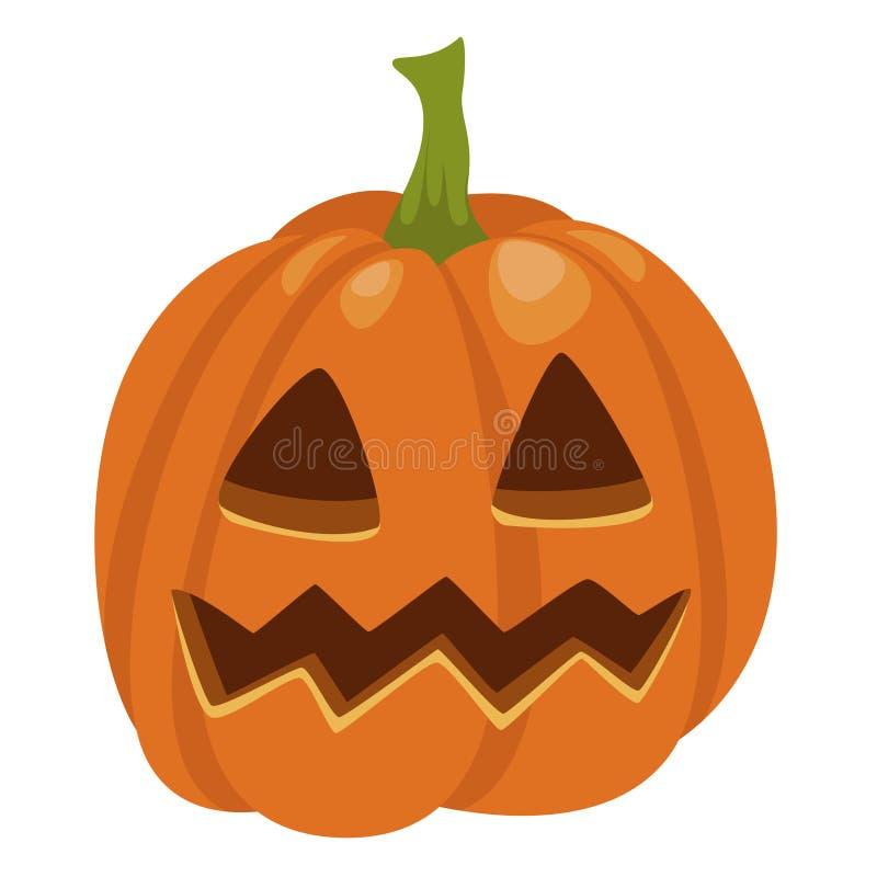 Halloweenowa dyniowa ikona, tradycyjna pomarańczowa śliczna dekoracja ilustracji