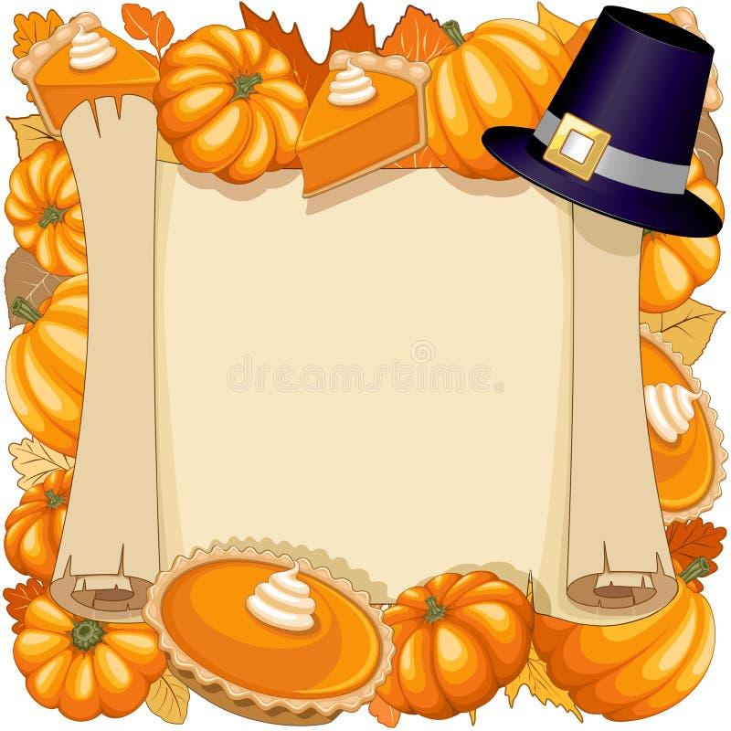 Halloweenowa dziękczynienie Dyniowego kulebiaka wakacji Parchement ramy wektoru ilustracja ilustracja wektor