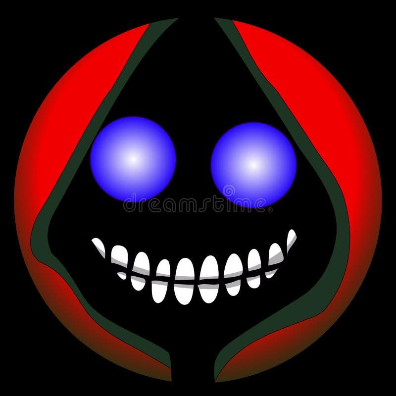 Halloweenowa emoji smiley twarzy ponurej żniwiarki sztuki graficznego projekta kartoteki eps ai 2d Wektorowa śmierć royalty ilustracja