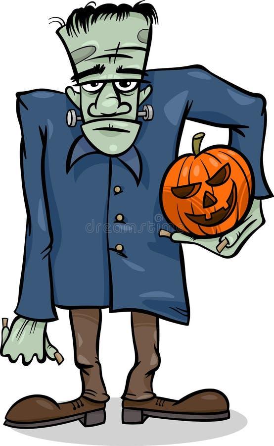 Halloweenowa frankenstein kreskówki ilustracja ilustracja wektor
