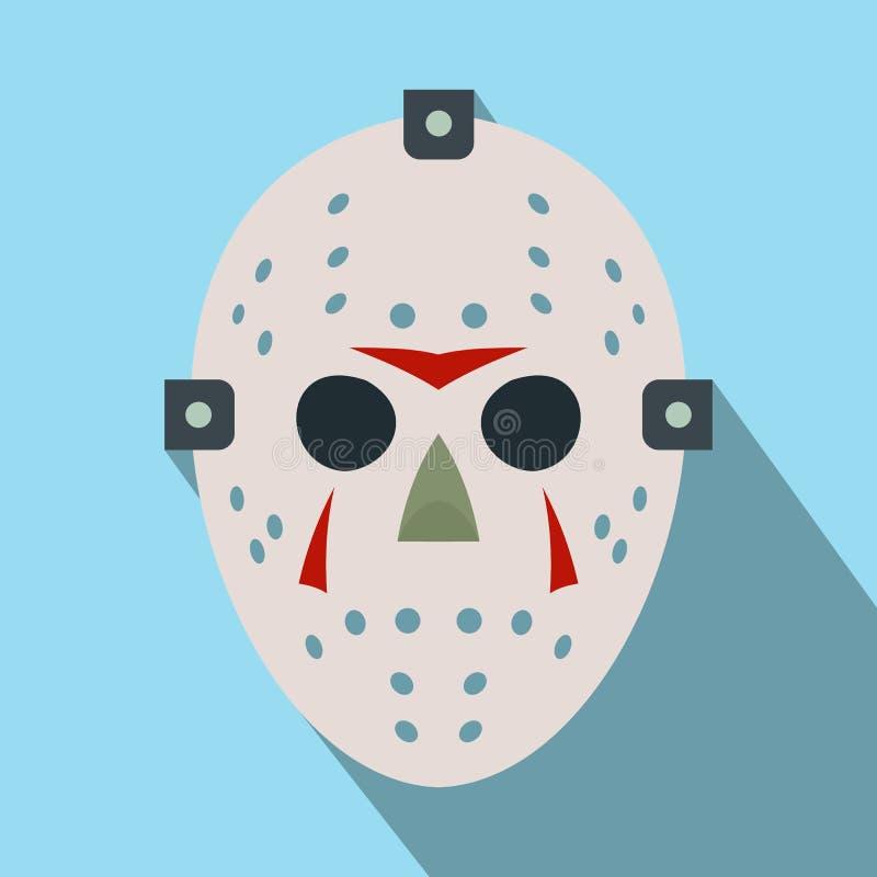 Halloweenowa hokej maski mieszkania ikona ilustracji