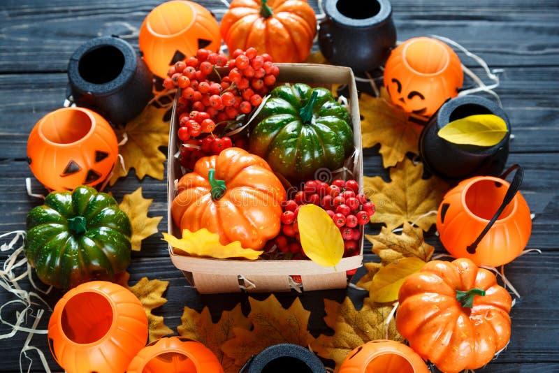Halloweenowa i thankgiving dekoracja: banie, lampiony, kosz obraz stock