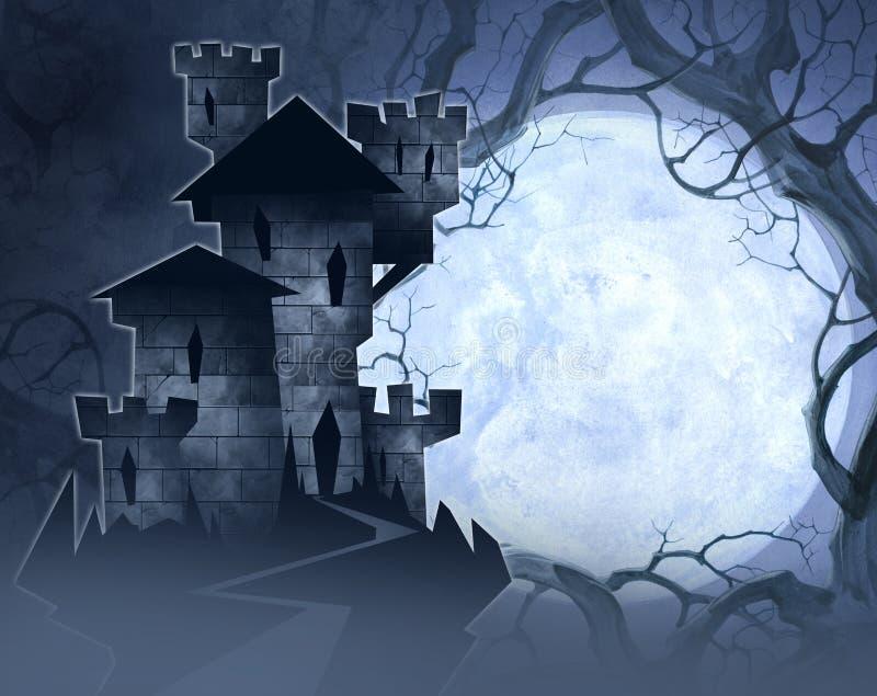 Halloweenowa ilustracja kasztel royalty ilustracja