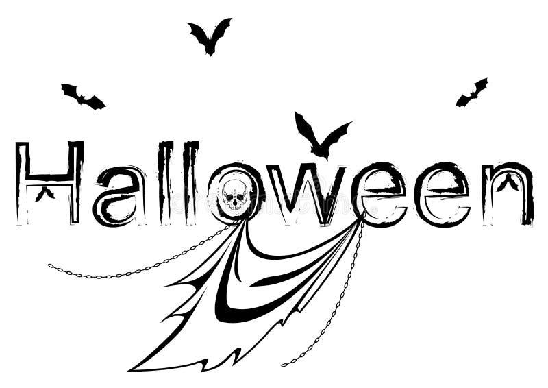 Halloweenowa ilustracja z nietoperzami i duchem royalty ilustracja