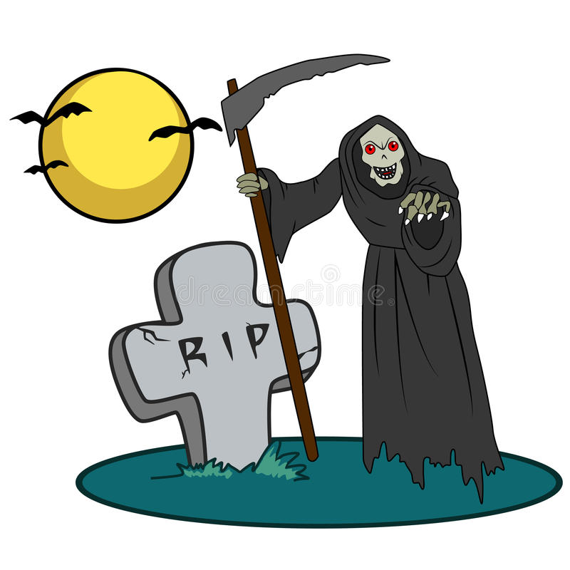 Halloweenowa istota na cmentarzu ilustracji
