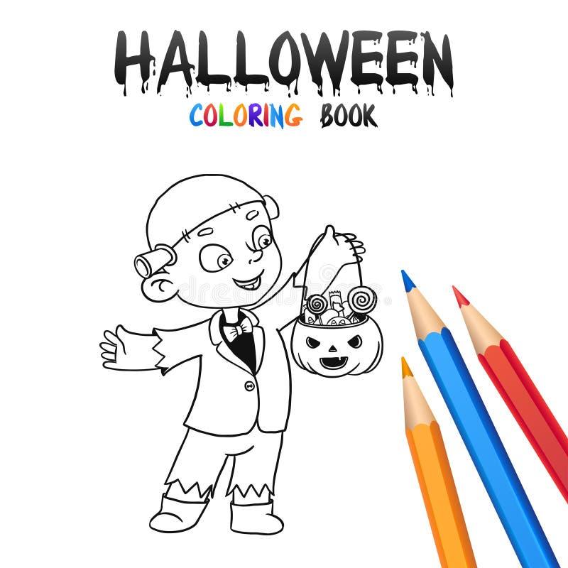 Halloweenowa kolorystyki książka Śliczny dziecka postać z kreskówki ilustracji