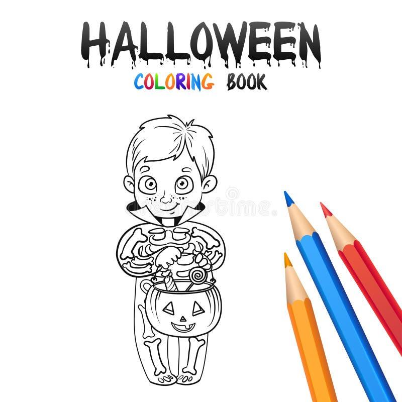 Halloweenowa kolorystyki książka Śliczny dziecka postać z kreskówki ilustracja wektor