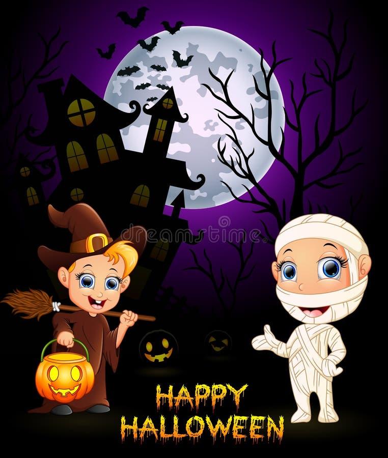 Halloweenowa kostium mamusia i mała czarownica ilustracji
