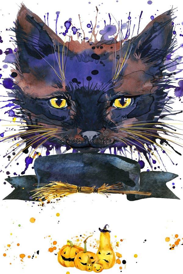 Halloweenowa kot czarownica akwareli ilustraci tło ilustracja wektor