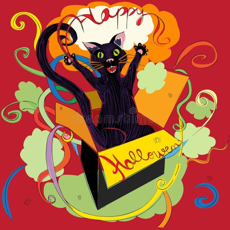 Halloweenowa kot niespodzianka ilustracja wektor