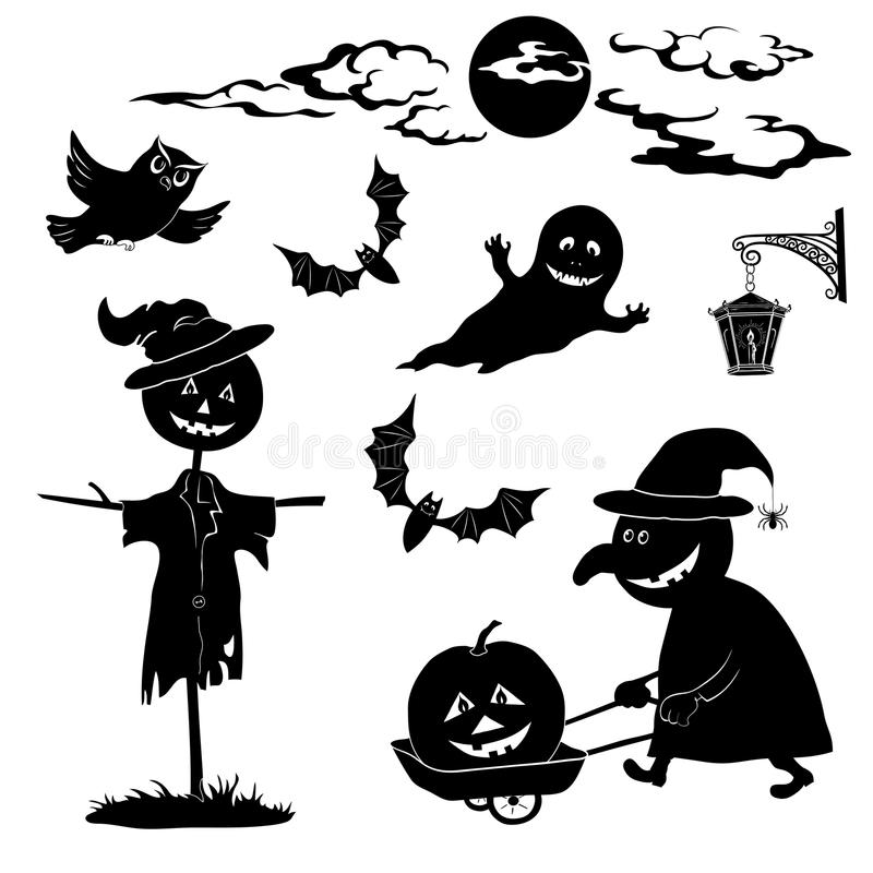 Halloweenowa kreskówka, ustawia czarną sylwetkę ilustracja wektor