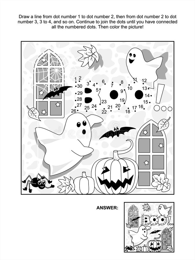 Halloweenowa kropki i kolorystyki strona ilustracja wektor