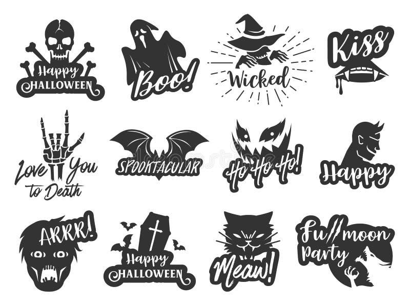 Halloweenowa majcher etykietka ustawia 2 Typograficzny projekt scrapbook elementów wektoru ilustracja royalty ilustracja