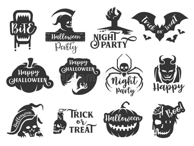 Halloweenowa majcher etykietka ustawia 1 Typograficzny projekt scrapbook elementów wektoru ilustracja royalty ilustracja
