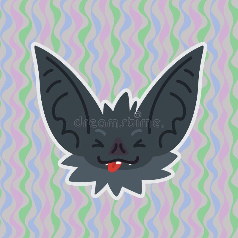 Halloweenowa nietoperza smiley głowa z zablokowanym za jęzorze i zamykających oczach Wektorowa ilustracja słysząca popielata dysz ilustracja wektor