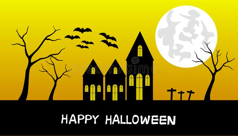 Halloweenowa noc, czerń kasztel na wieczór światła słonecznego tle z księżyc, ilustracja wektor
