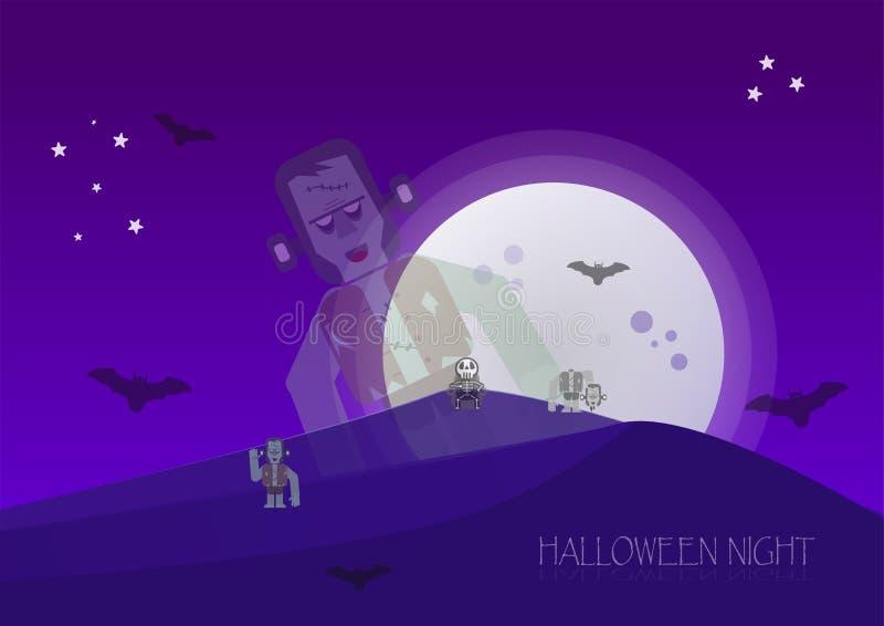 Halloweenowa noc z żywymi trupami, koścem, frankenstein i nietoperzami, wewnątrz royalty ilustracja