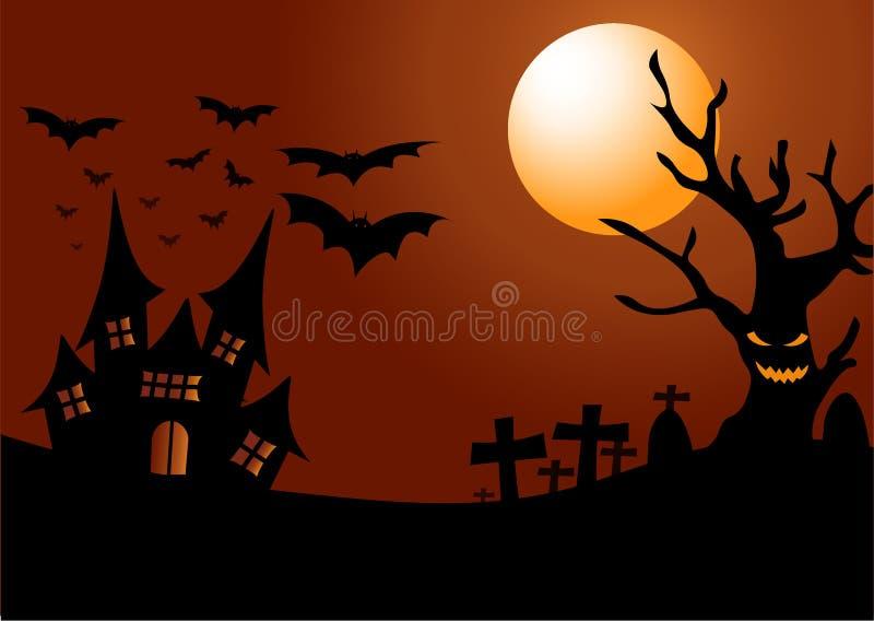 Halloweenowa noc z starym kasztelem i strasznym starym drzewem na zmroku - pomarańczowy tło ilustracja wektor