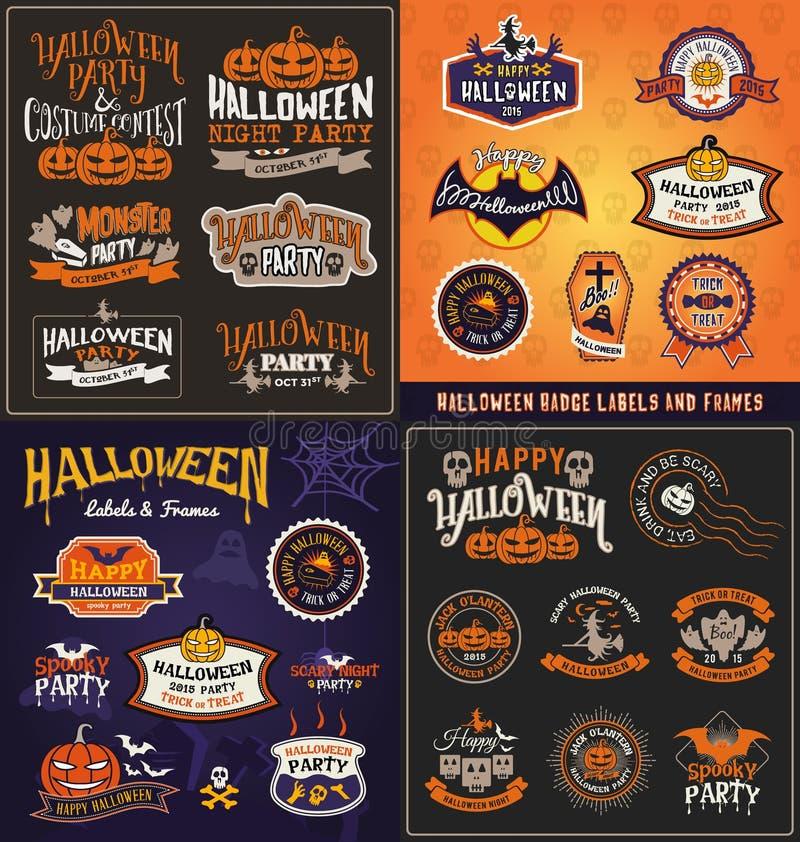 Halloweenowa odznaki i etykietki majcheru duża ustalona kolekcja ilustracja wektor