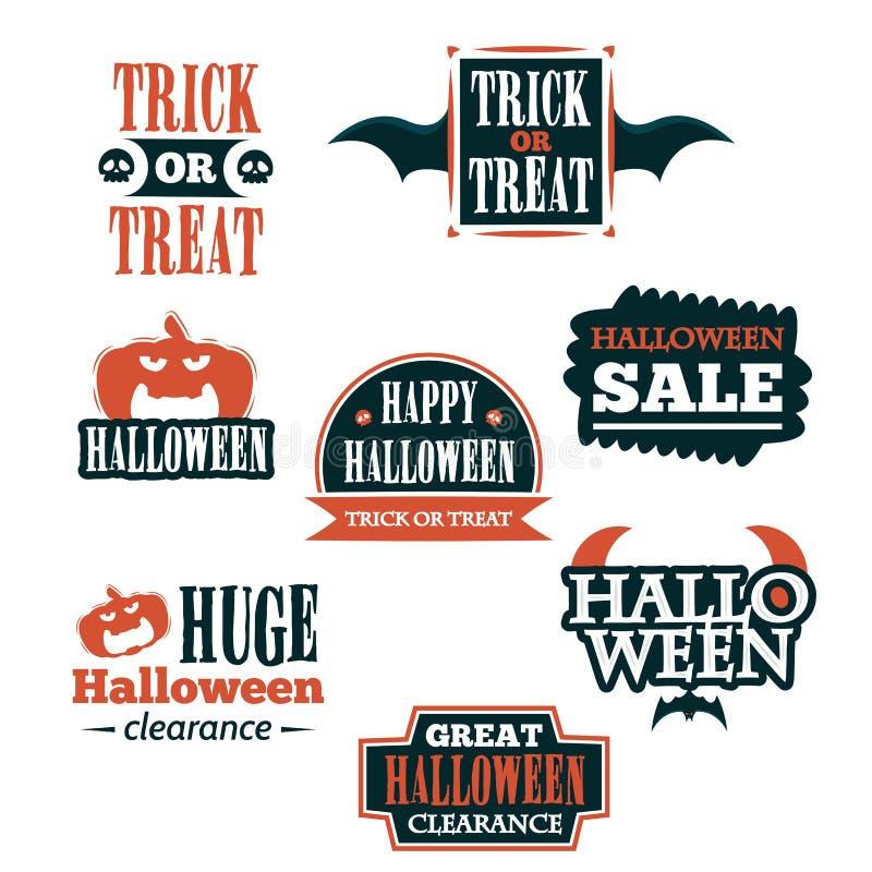 Halloweenowa odznaki i etykietki majcheru kolekcja Halloween Bawi się, Szczęśliwy Halloween dla majcheru, etykietki, sztandaru, k ilustracja wektor