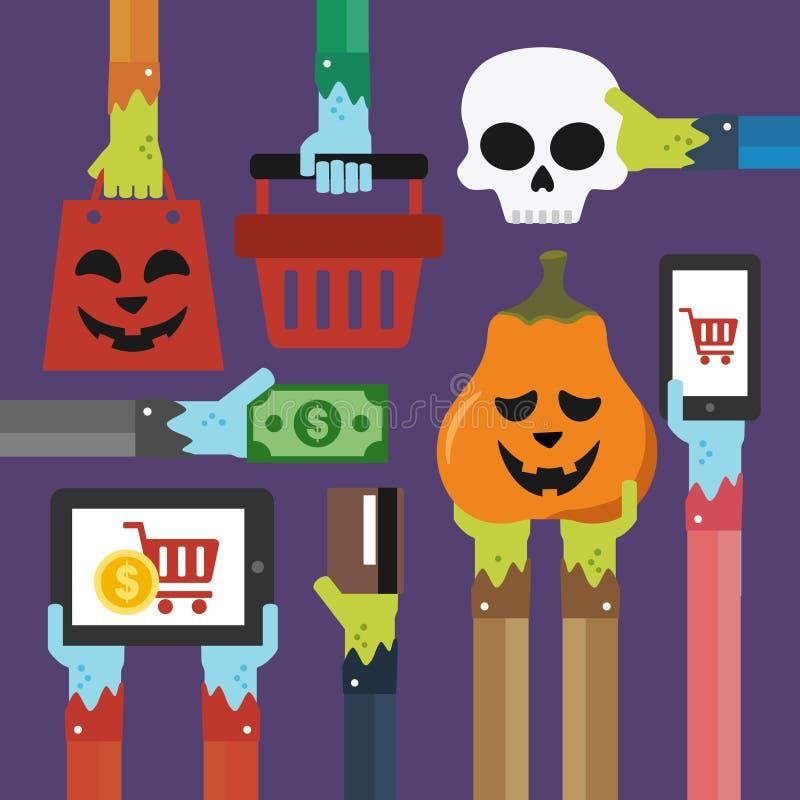 Halloweenowa płaska sprzedaż ilustracja wektor