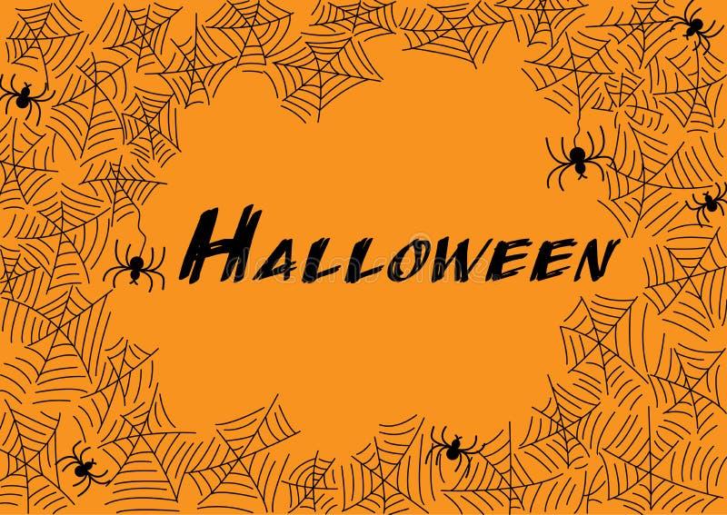 Halloweenowa pająk sieć, pająki dla kartka z pozdrowieniami i ilustracja wektor